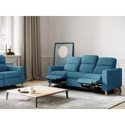 BERKAM - Canapé de relaxation électrique 3 places en tissu et pieds bois hêtre