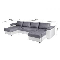 BENITO-U Canapé d'angle convertible en tissu et simili