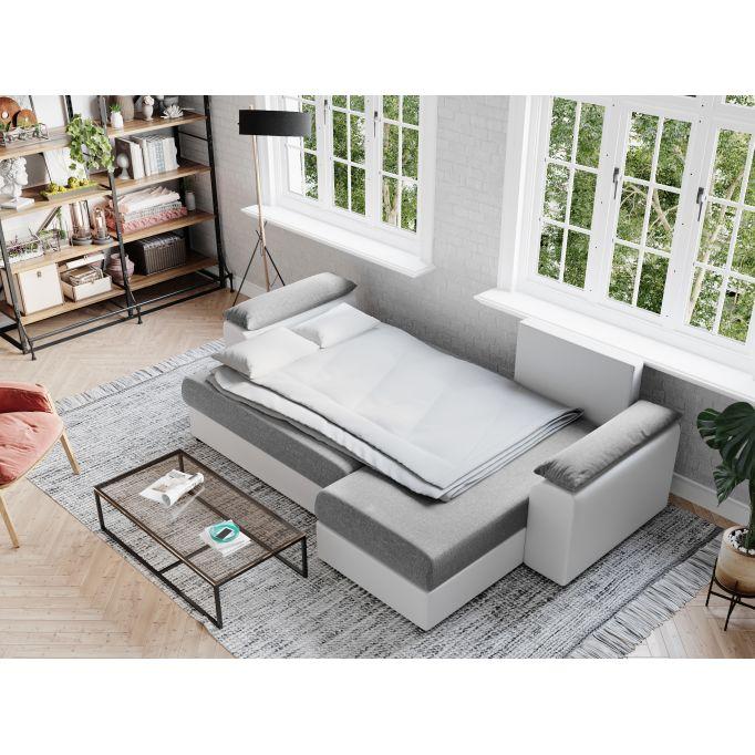 BENITO - Canapé d'angle réversible et convertible en simili et tissu