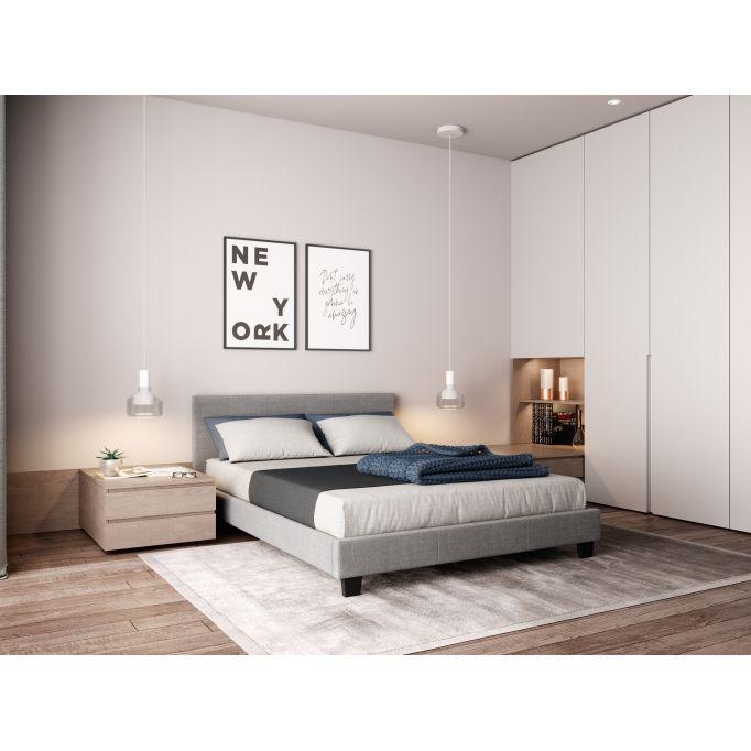 Cadre de lit avec tête de lit en tissu