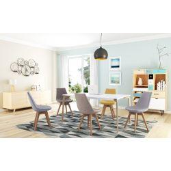 A8068 - Lots de 2 chaises scandinaves en polypropylène et tissu avec pieds en hêtre