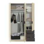 Armoire industrielle 3 portes bois + 3 tiroirs gris L121 x H180 cm