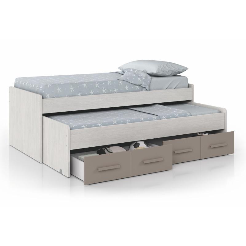 Lit enfant gigogne sommier inclus (190x90 + 180x90) avec 2 tiroirs de rangement