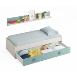 Lit 1 tiroir sans sommier avec étagère murale L201 cm