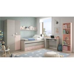 Lit enfant gigogne (190x90 + 180x90) sans sommier, avec 2 tiroirs et 1 étagère