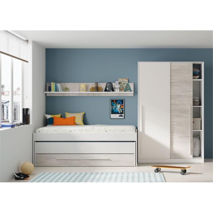 Lit Gigogne (190x90 + 180x90) sans sommier, avec 1 tiroir et 1 étagère