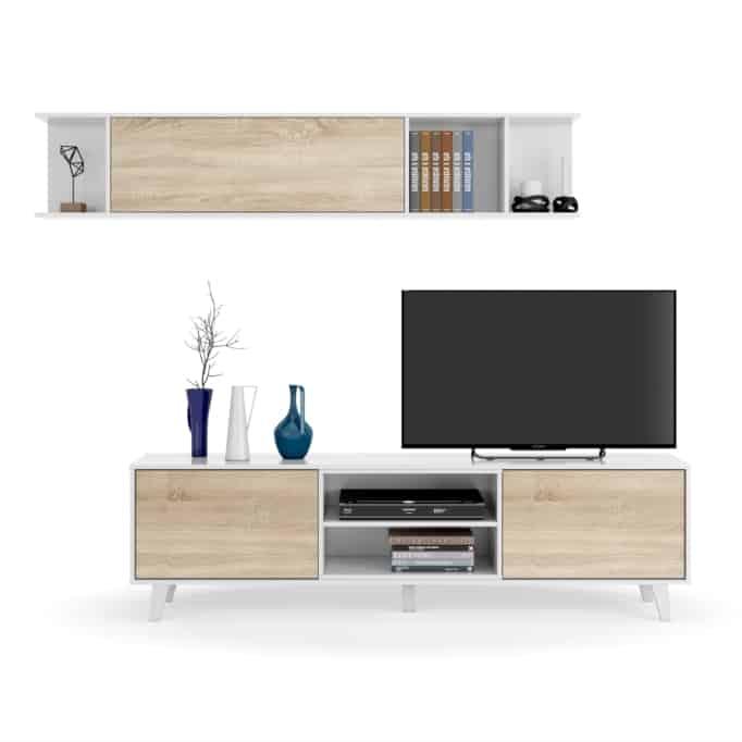 Meuble TV 2 portes avec 2 niches et étagère murale L180 cm