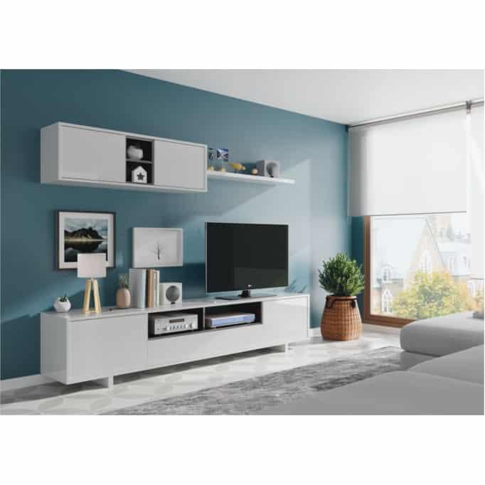 Meuble TV 3 portes avec 1 niche et étagère murale