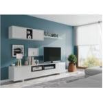 Meuble TV 3 portes avec 1 niche et étagère murale L200 cm