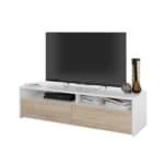 Meuble TV 2 portes battantes et 2 niches de rangement L130 cm