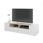 Meuble TV 4 portes et 2 niches de rangement L138 cm