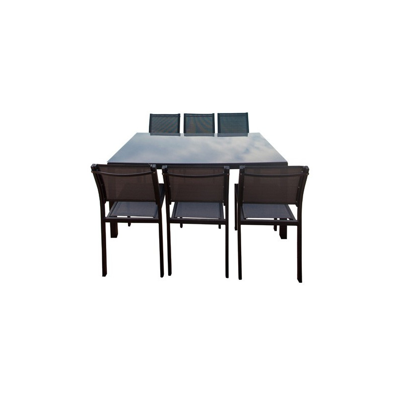 Table en aluminium 160 cm + 6 chaises