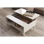 Table basse avec panneau central relevable L100 x H68 cm