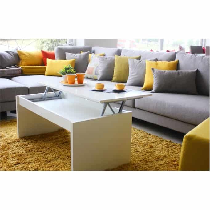 Table basse à plateau relevable L102 x H43/54 cm