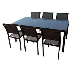 Table en aluminium de 180 cm + 6 chaises