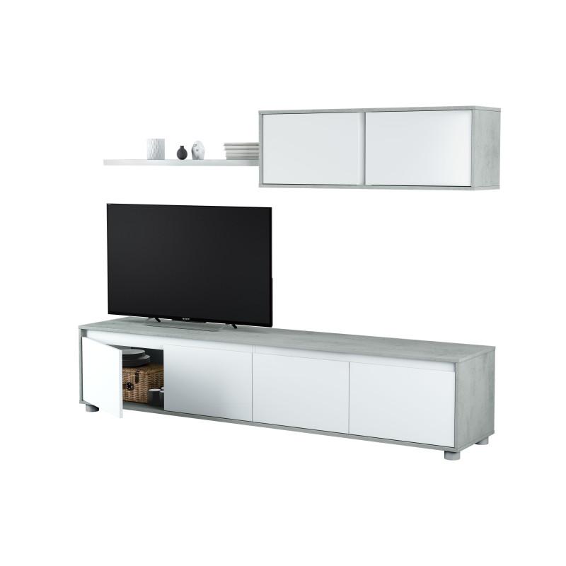 Meuble TV 4 portes avec étagère murale 2 portes L200 cm