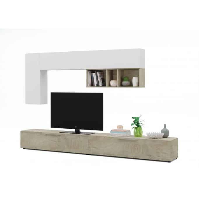 Meuble TV 2 portes L260cm et étagère murale blanc L210 cm