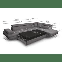 RIO - Canapé d'angle convertible 5 places avec coffre de rangement en microfibre et simili