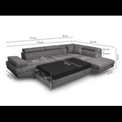RIO - Canapé d'angle convertible 5 places avec coffre de rangement en tissu et simili