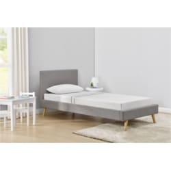 1199 - Cadre de lit style scandinave en tissu avec pieds bois