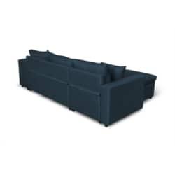 L200PLUS - Canapé d'angle réversible convertible avec coffre et 2 poufs en tissu