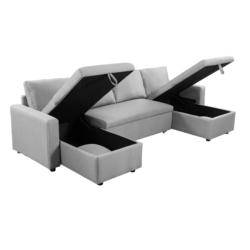L200U - Canapé panoramique convertible avec 2 coffres en tissu