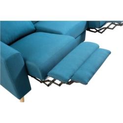 BERKAM - Canapé de relaxation scandinave 3 places en tissu et pieds bois hêtre