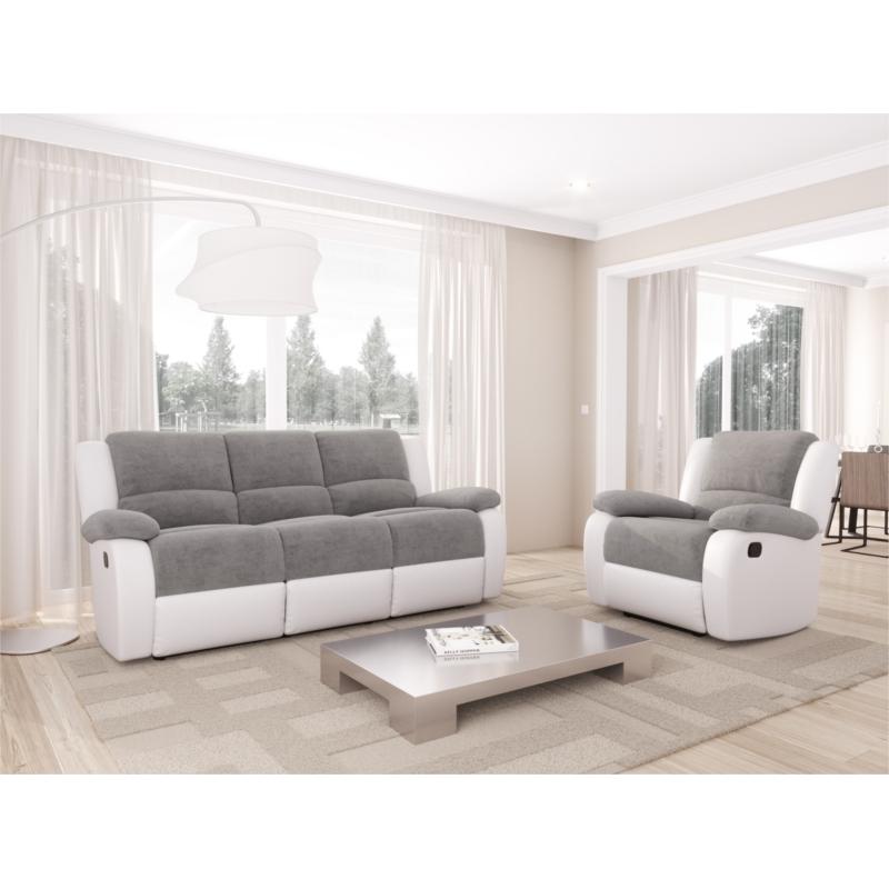 9121 - Canapé de relaxation manuel 3 places en microfibre et simili