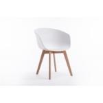 A8500 - Lot de 2 chaises accoudoirs avec coque en polypropylène avec pieds en hêtre naturel